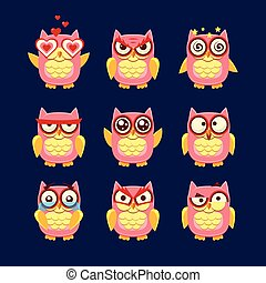 ピンク, フクロウ, コレクション, emoji