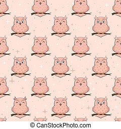 ピンク, フクロウ, seamless, 背景