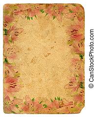 ピンク, フレーム, 古い, lilies., postcard.