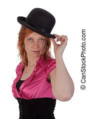 ピンク, ブラウス, ボーリング競技者, かなり, redhead, 女の子