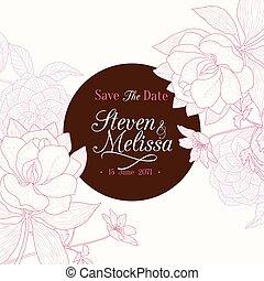 ピンク, ブラウン, クラシック, 型, フレーム, 結婚式, チョコレート, ベクトル, テキスト, レトロ, 招待, 花, 流行, カード, 花, 図画, ラウンド, design.