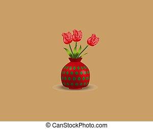 ピンク, ブラウン, バックグラウンド。, イラスト, つぼ, チューリップ, ベクトル, 花