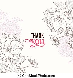 ピンク, ブラウン, 感謝しなさい, クラシック, 型, フレーム, 結婚式, ベクトル, テキスト, レトロ, 招待, 花, 流行, あなた, 花, 図画, カード, design.