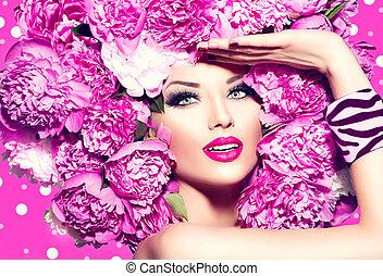 ピンク, ヘアスタイル, ファッション, シャクヤク, 美しさ, モデル, 女の子
