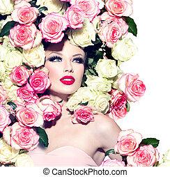 ピンク, ヘアスタイル, 女の子, ばら, セクシー, モデル, 白