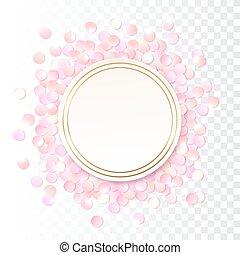 ピンク, ベクトル, 広告, カラフルである, フレーム, 証明書, 隔離された, イラスト, 贈り物, バックグラウンド。, バウチァ, 紙ふぶき, デザイン, テンプレート, 現実的, パンフレット, so., 透明, ラウンド
