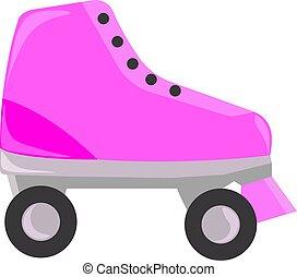 ピンク, ベクトル, 白, スケート, イラスト, バックグラウンド。, ローラー