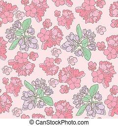 ピンク, ベクトル, 花, バックグラウンド。, サクランボ, 花