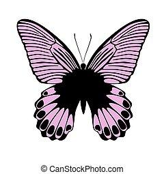 ピンク, ベクトル, 蝶, イラスト
