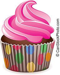 ピンク, ベクトル, cupcake