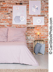 ピンク, ベッド, 寝室