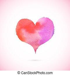 ピンク, ペイントされた, ベクトル, 心