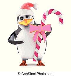 ピンク, ペンギン, santa, キャンデー, 3d