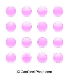 ピンク, ボタン, ラウンド