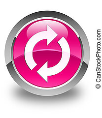 ピンク, ボタン, 更新, グロッシー, ラウンド, アイコン