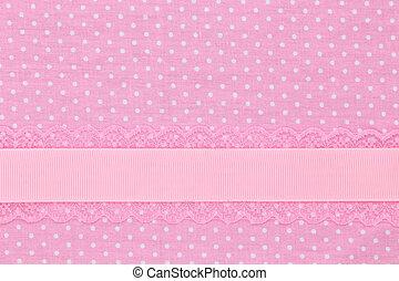 ピンク, ポルカ, 織物, レトロ, 背景, 点