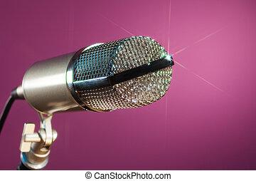 ピンク, マイクロフォン, 背景, 金属