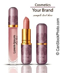 ピンク, マット, 口紅, set., 装飾, の上, 包装, 現実的, 色, ベクトル, 化粧品, 粉, ...