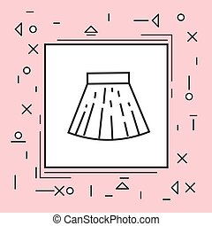 ピンク, ミニ, フレーム, 薄いライン, スカート, アイコン
