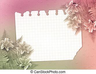 ピンク, ユリ, お祝い, 招待, ∥あるいは∥, カード