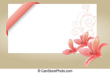 ピンク, ユリ, 訪問, カード, ブランク, 白いリボン