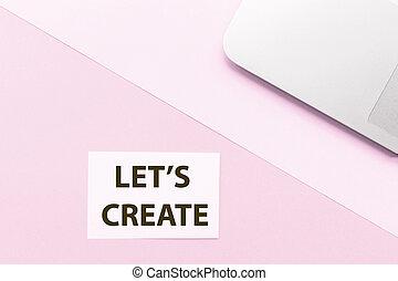 ピンク, ラップトップ, mockup, 上, space., バックグラウンド。, そうさせられた, 句, ビュー。, コピー, 作成しなさい