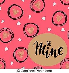 ピンク, レタリング, スケッチ, 金, ありなさい, フレーム, 私の, 手, hearts., 背景, 引かれる