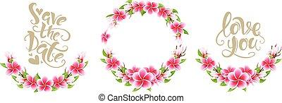 ピンク, レタリング, セット, 花束, 招待, plumeria, 結婚式, 花, カード