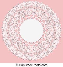 ピンク, レース, フレーム, napkin., openwork, バックグラウンド。, 白, 要素, ラウンド