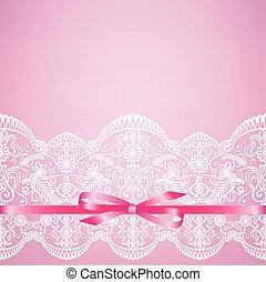 ピンク, レース, 背景