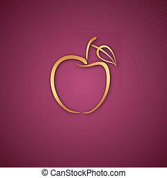 ピンク, ロゴ, 上に, アップル