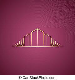 ピンク, ロゴ, 上に, 建築家
