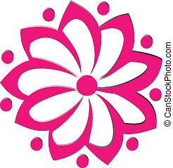 ピンク, ロゴ, 花, ベクトル