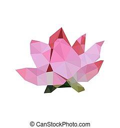 ピンク, ロータス, イラスト, origami