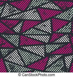 ピンク, 三角形, パターン, seamless, 効果, グランジ