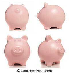 ピンク, 上に, 小豚, 背景, 白, 銀行