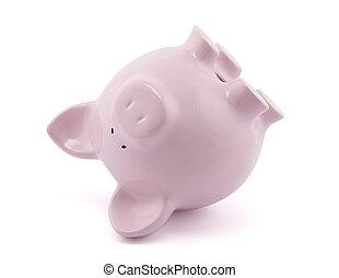 ピンク, 下方に, 上側, 貯金箱