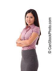 ピンク, 中国語, ビジネス, 女性実業家, 隔離された, 見る, バックグラウンド。, アジア人, カメラ。, woman., 白, 微笑