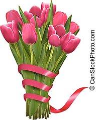 ピンク, 休日, 花束, イラスト, ベクトル, 背景, ribbons., 花
