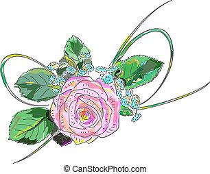 ピンク, 休日, rose., arrangement.