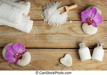 ピンク, 体, 石, セット, 塩, 木製である, 心, 花, ローション, 浴室, 作られた, タオル, テーブル, エステ, マッサージ, 蘭