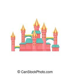 ピンク, 公園, イラスト, 要素, ベクトル, 背景, 白, 娯楽, 城