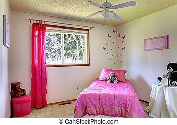 ピンク, 内部, 女の子, 部屋