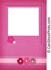 ピンク, 写真フレーム, ポルカ, 背景, 点