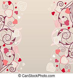 ピンク, 別, ベージュのバックグラウンド, 心, 輪郭