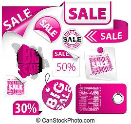 ピンク, 割引, セット, 要素