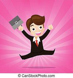 ピンク, 喜び, 跳躍, 背景, ビジネスマン, sunburst