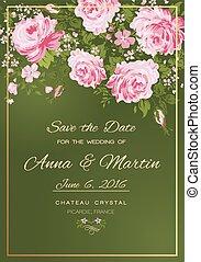 ピンク, 型, ベクトル, roses., 招待, 花