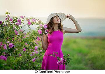 ピンク, 型, 女の子, 帽子, 服