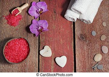 ピンク, 塩, 石, セット, 板, マッサージ, 作られた, タオル, エステ, 心, 浴室, 花, 赤, 蘭